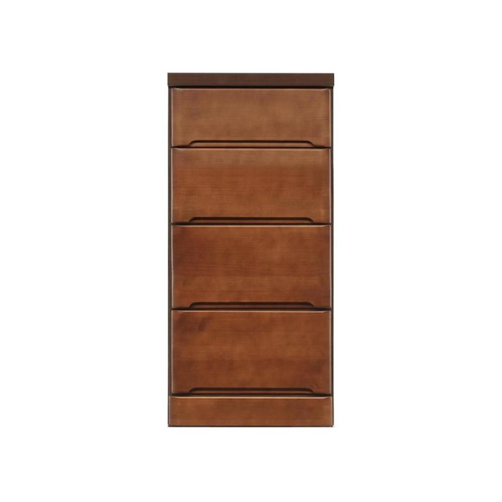 【同梱・代引き不可】クライン サイズが豊富なすきま収納チェスト ブラウン色 4段 幅40cm