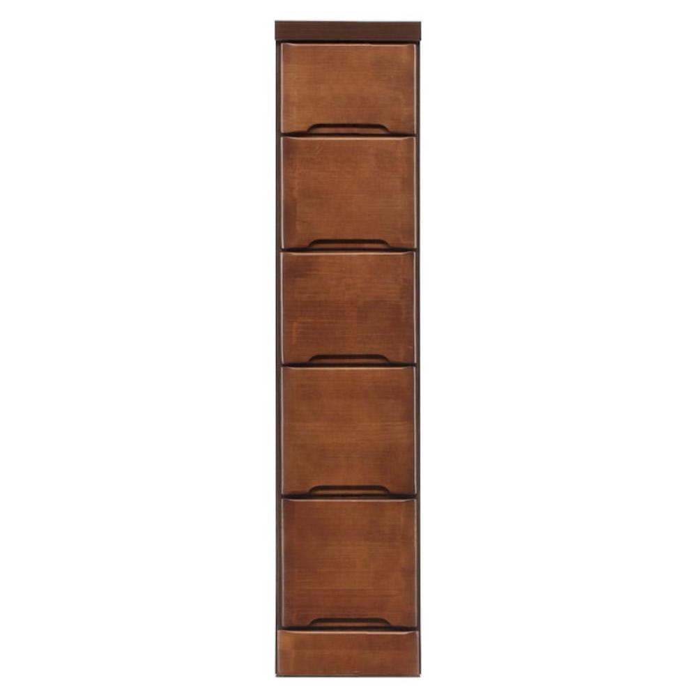 【同梱・代引き不可】クライン サイズが豊富なすきま収納チェスト ブラウン色 5段 幅22.5cm