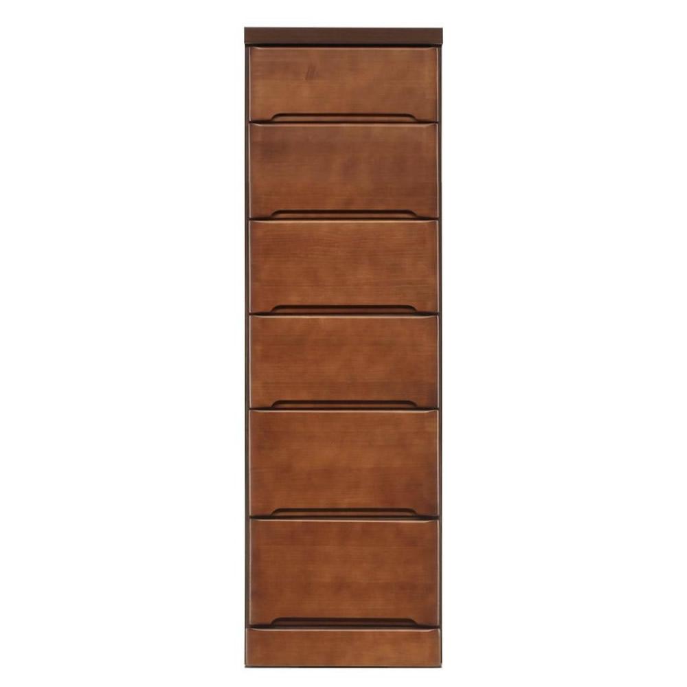 【同梱・代引き不可】クライン サイズが豊富なすきま収納チェスト ブラウン色 6段 幅37.5cm