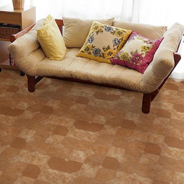 貼ってはがせる!床用 リノベシート ロール物(一反) テラコッタ 90cm幅×20m巻 Br(ブラウン) REN-12R