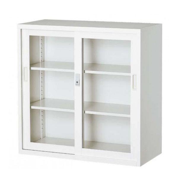 【同梱・代引き不可】オフィス向け 一般書庫・ホワイト 3×3型引違書庫 3号ガラス戸 COM-303G-W