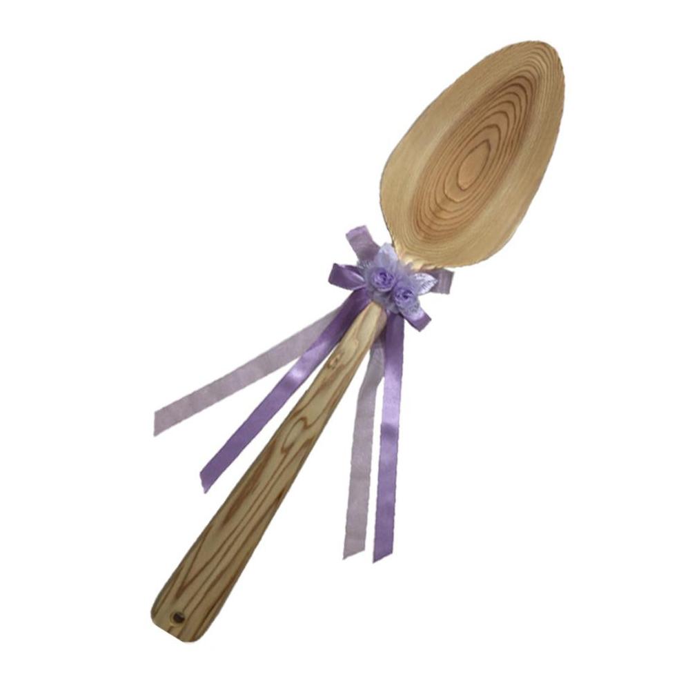 【同梱・代引き不可】ファーストバイトに! ビッグウエディングスプーン 誓いのスプーン クリア 90cm 薄紫色リボン
