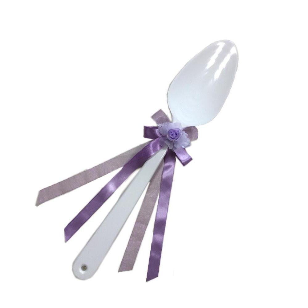 【同梱・代引き不可】ファーストバイトに! ビッグウエディングスプーン 誓いのスプーン ホワイト 60cm 薄紫色リボン