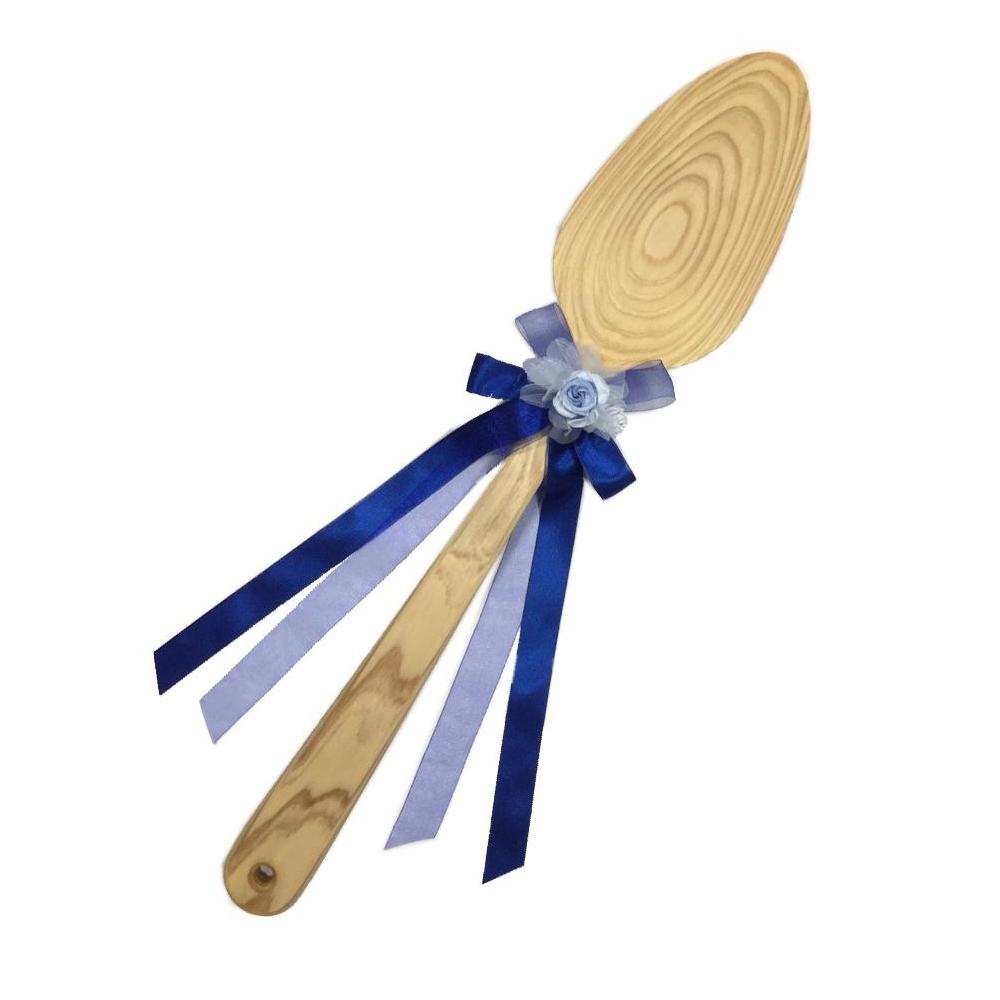 【同梱・代引き不可】ファーストバイトに! ビッグウエディングスプーン 誓いのスプーン クリア 60cm 青色リボン