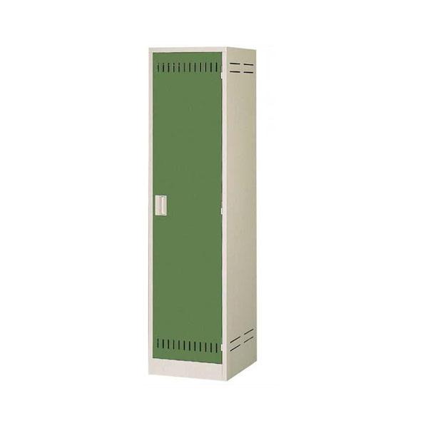 【同梱・代引き不可】掃除用具ロッカー ニューグレー×ゴールドグリーン COM-NCP