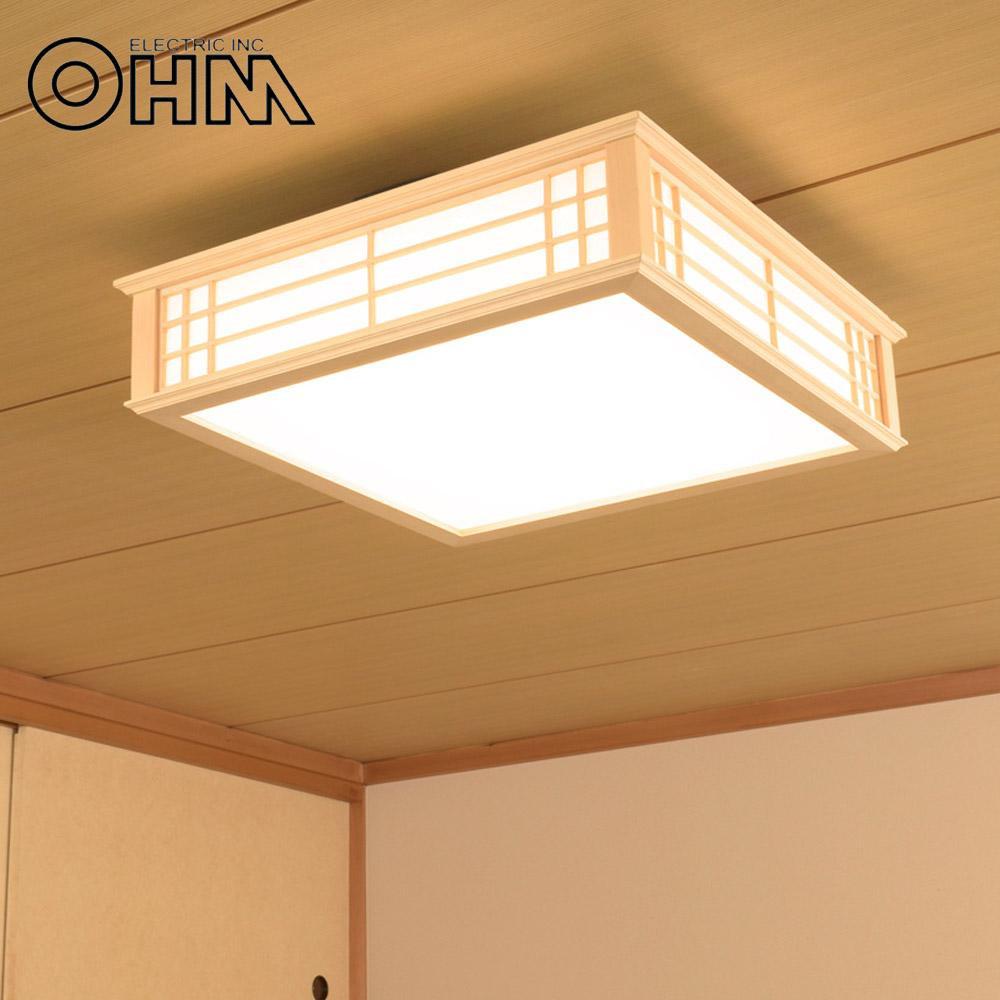 オーム電機 OHM LED和風シーリングライト 調光 8畳用 34W 電球色 LE-W30L8K-K