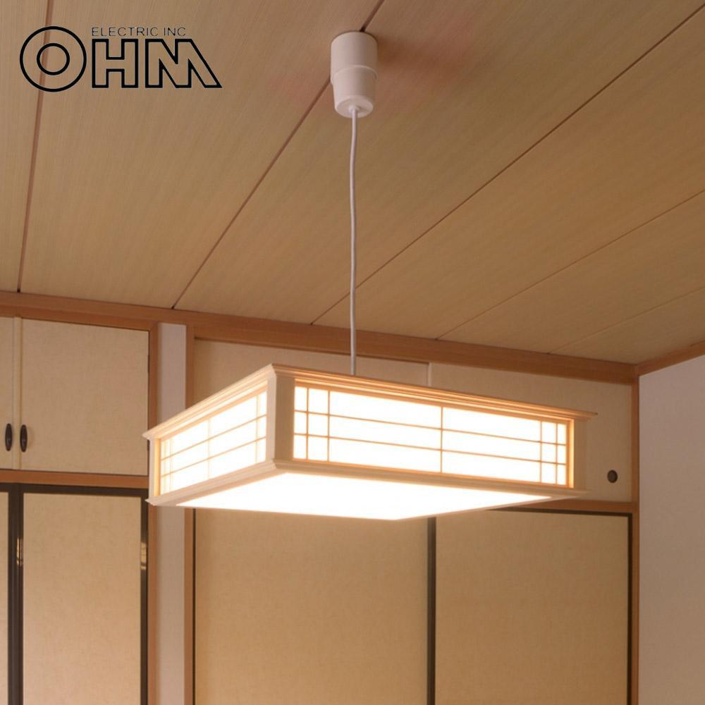 オーム電機 OHM LED和風ペンダントライト 調光 8畳用 電球色 34W LT-W30L8K-K