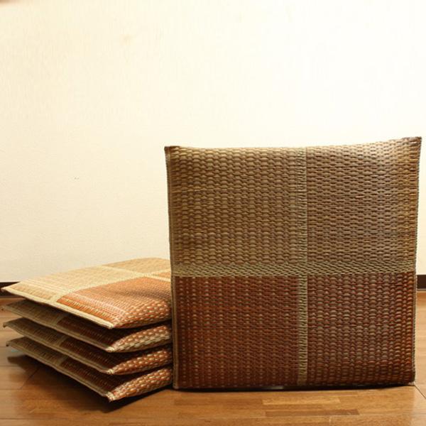 純国産 織込千鳥 い草座布団 『フブキ 5枚組』 ブラウン 約55×55cm 3127800