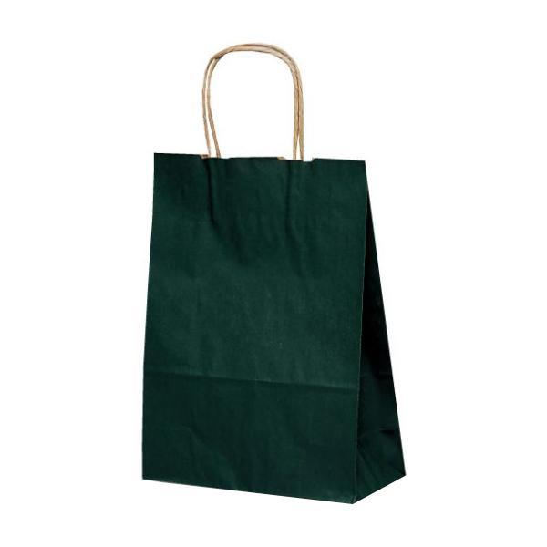 T-3 自動紐手提袋 紙袋 紙丸紐タイプ 220×100×300mm 200枚 カラー(緑) 1315