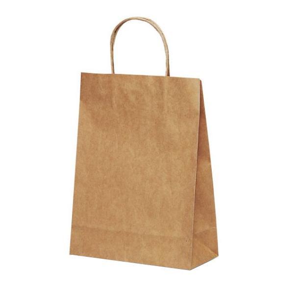 T-3 自動紐手提袋 紙袋 紙丸紐タイプ 220×100×300mm 200枚 茶無地 1318