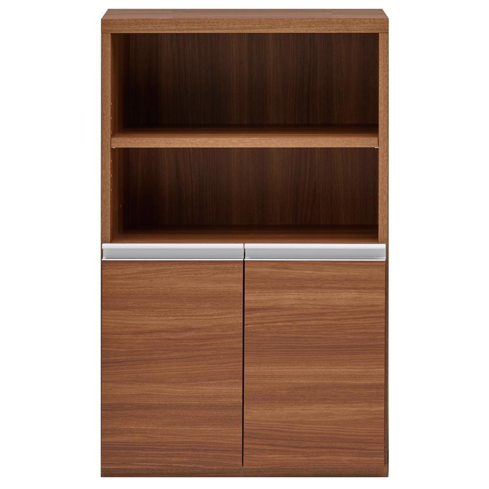 【同梱・代引き不可】 収納棚 オープン棚 + 戸棚 リアルウォールナット ECD-61H