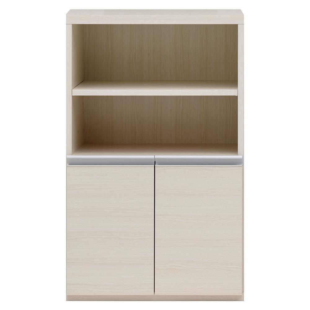 【同梱・代引き不可】 収納棚 オープン棚 + 戸棚 ホワイトウッド ECS-61H