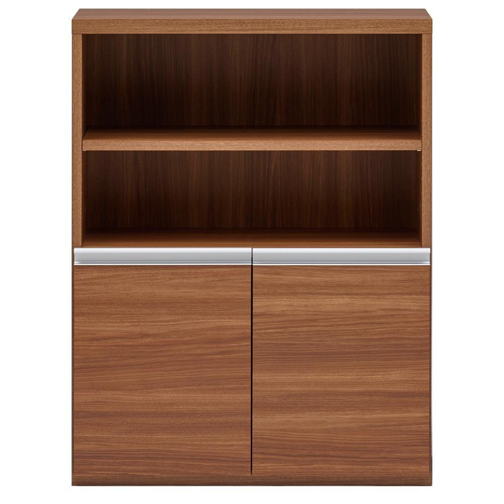 【同梱・代引き不可】 収納棚 オープン棚 + 戸棚 リアルウォールナット ECD-75H