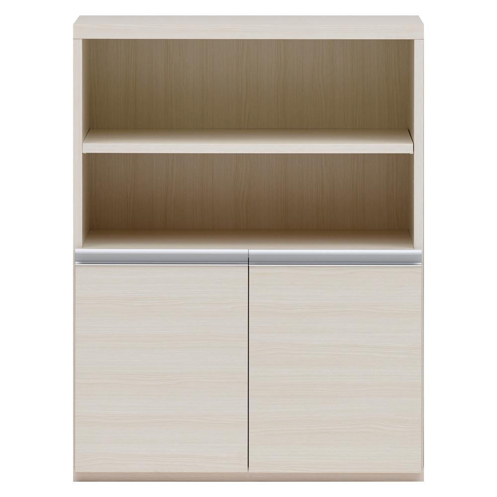 【同梱・代引き不可】 収納棚 オープン棚 + 戸棚 ホワイトウッド ECS-75H