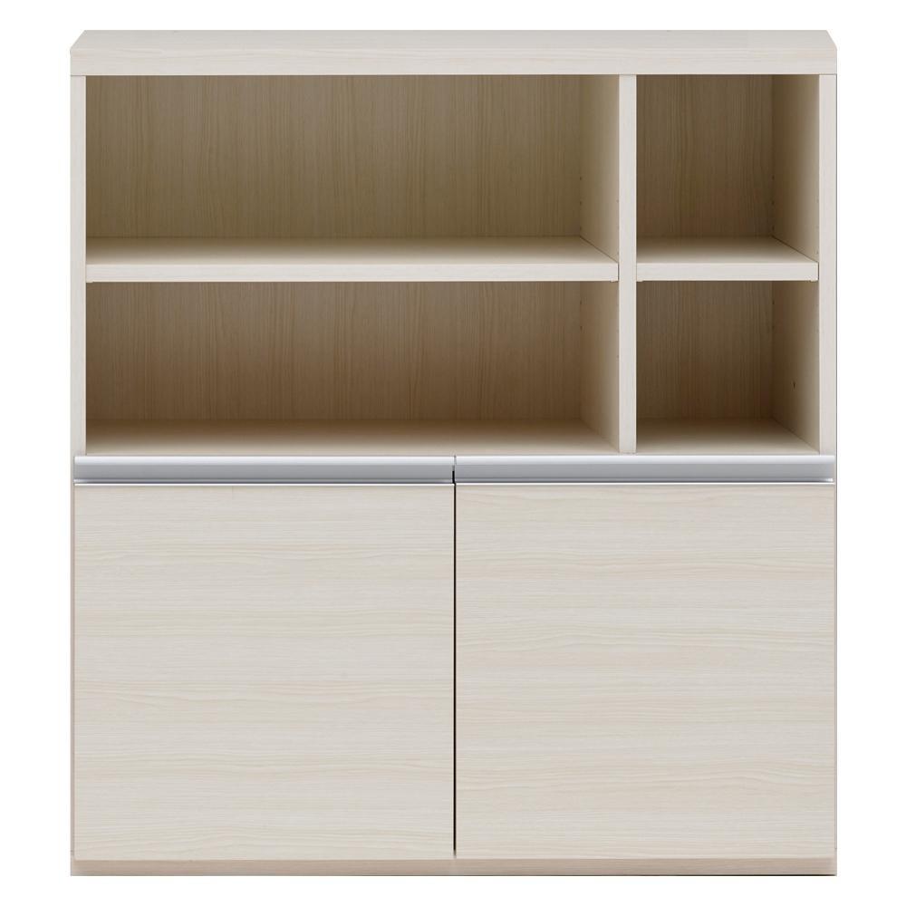 【同梱・代引き不可】 収納棚 オープン棚 + 戸棚 ホワイトウッド ECS-91H
