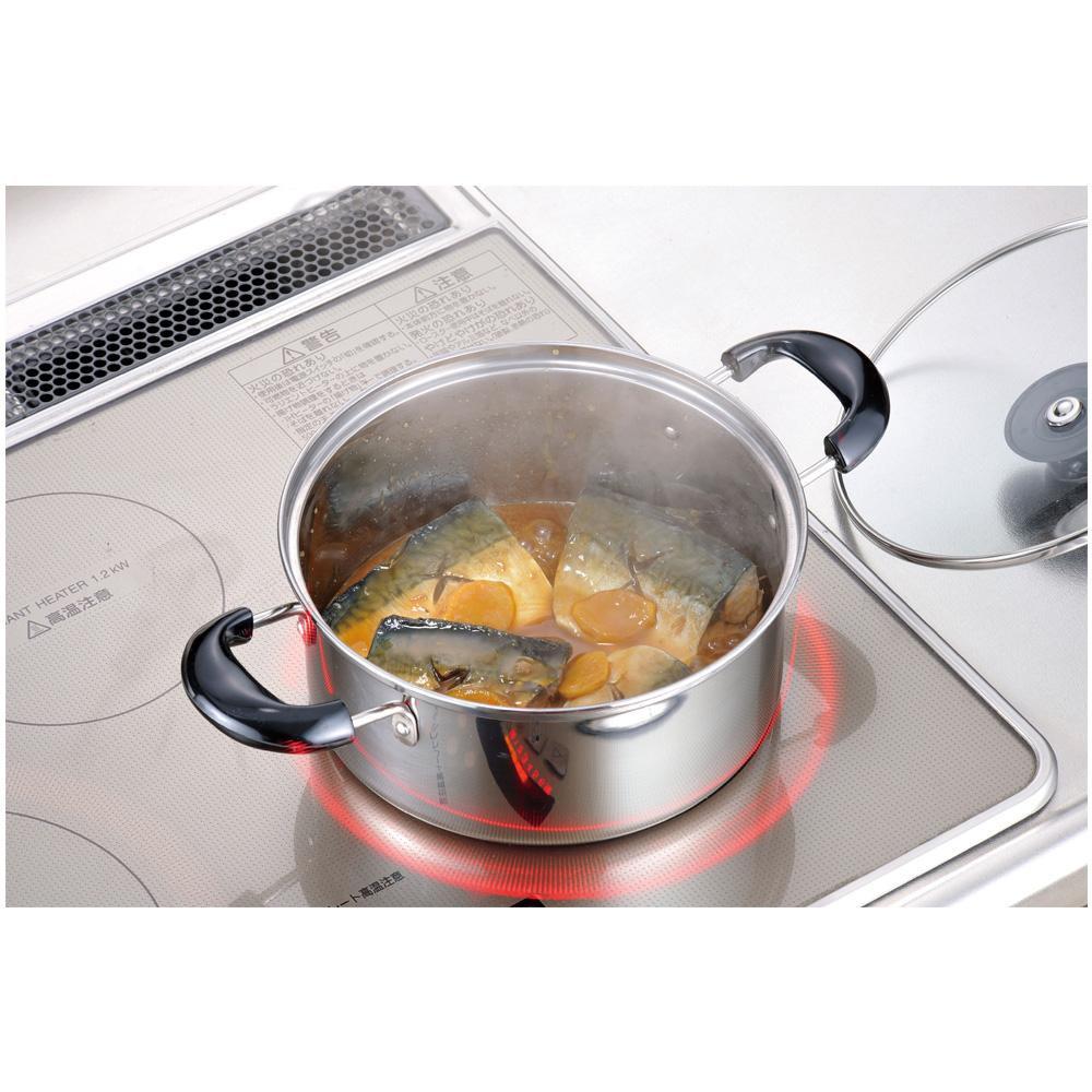 IH対応 ステンレス製の鍋 バジコ 好評 ご注文で当日配送 COM-9843 IH対応両手鍋20cm