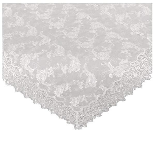 川島織物セルコン チュールエンブロイダリー テーブルクロス 150Rcm HH1301 W ホワイト