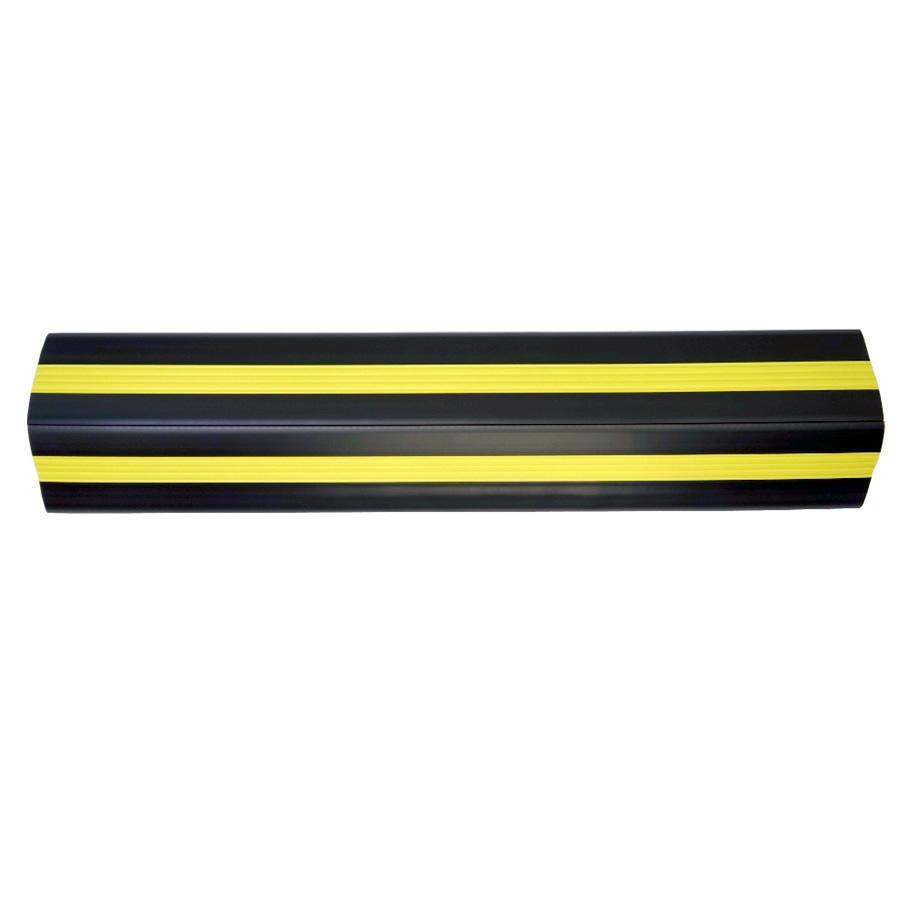 【同梱・代引き不可】 大研化成工業 ケーブルプロテクター 黒(黄色ライン入り) 50Φ×1m