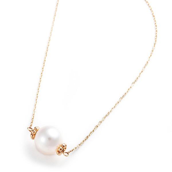アコヤ真珠 ネックレス K10 イエローゴールド 約7mm 約7ミリ 40cm 長さ調節可能(アジャスター付き) 真珠 あこや真珠