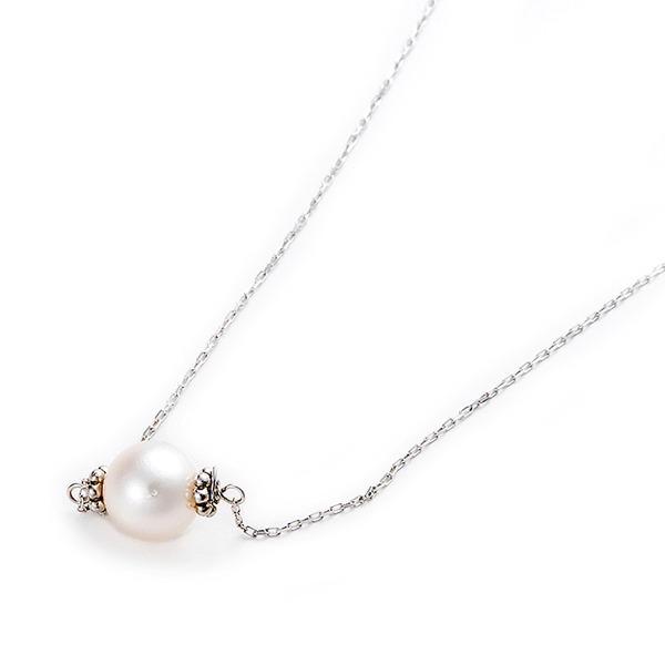 アコヤ真珠 ネックレス K10 ホワイトゴールド 約7mm 約7ミリ 40cm 長さ調節可能(アジャスター付き) 真珠 あこや真珠