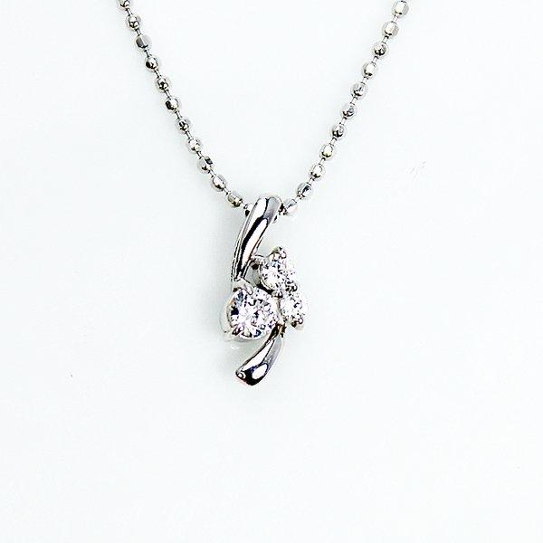 0.1ct 天然ダイヤモンド スリーストーン ペンダント ネックレス【代引不可】