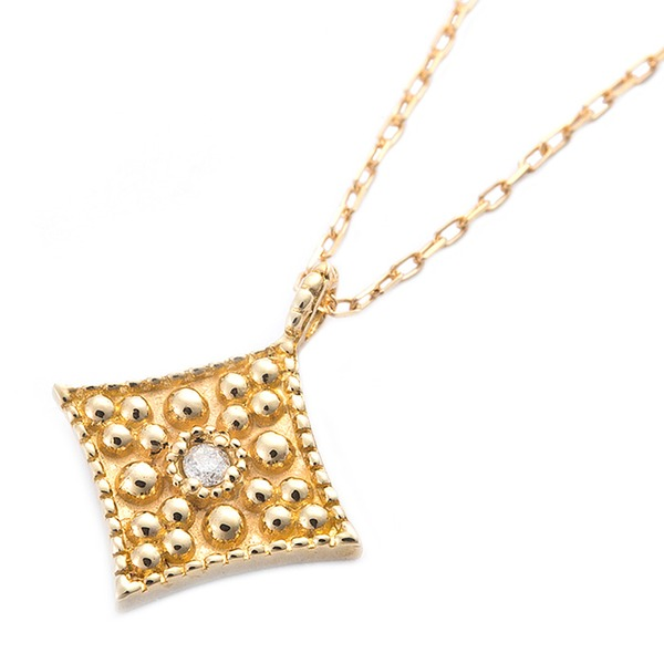 ダイヤモンド ネックレス 一粒 K10 イエローゴールド ダイヤ0.01ct アンティーク調 スクエア シンプル ペンダント