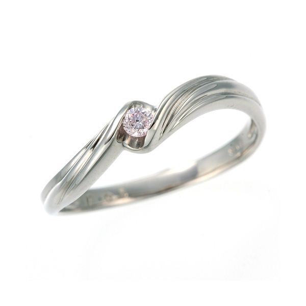 0.05ctピンクダイヤリング 指輪 ウェーブ 11号