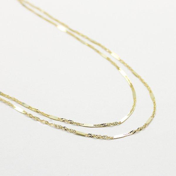 10金イエローゴールド 40cm 鏡面 ヘリンボーン スクリュー チェーン コンビ デザイン ネックレス【代引不可】