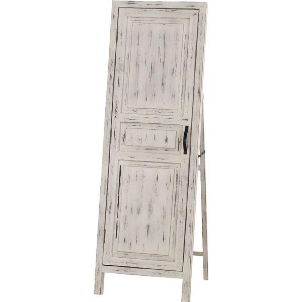 スタンドミラー(ドアミラー) ソーレ 全身姿見鏡 高さ134cm 木製 TSM-13WH ホワイト(白)