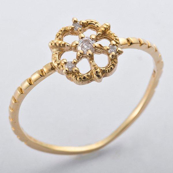 K10イエローゴールド 天然ダイヤリング 指輪 ダイヤ0.05ct 9号 アンティーク調 フラワーモチーフ