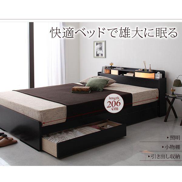 収納ベッド ダブル【Roi-long】【ボンネルコイルマットレス付き】 ブラック 棚・照明付き収納ベッド【Roi-long】ロイ・ロング【代引不可】