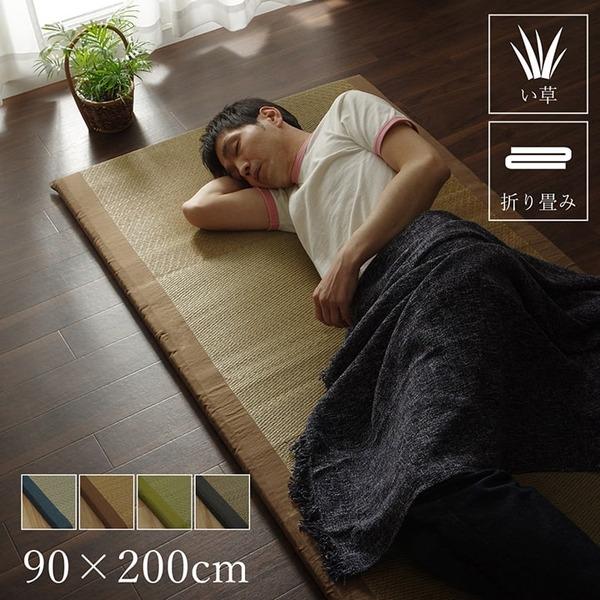 純国産/日本製 固わた40mm入りい草マット 『ノア40 Sらくらく』 ブラウン 約90×200cm