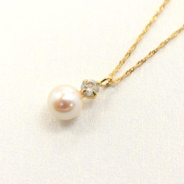 18金 イエローゴールド アコヤ真珠 ダイヤモンドペンダント/ネックレス【代引不可】