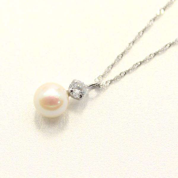 プラチナ アコヤ真珠 ダイヤモンドペンダント/ネックレス【代引不可】