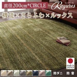 ラグマット 直径200cm(円形)【rayures】ダークグレー さらふわ国産ミックスシャギーラグ【rayures】レイユール【代引不可】