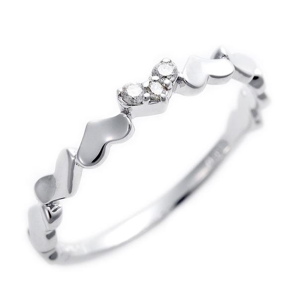 ダイヤモンド ピンキーリング K10 ホワイトゴールド ダイヤ0.03ct ハートモチーフ 2号 指輪