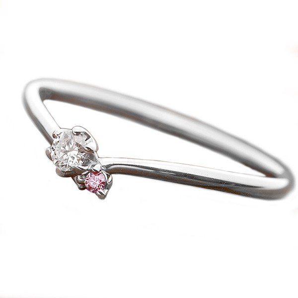 ダイヤモンド リング ダイヤ ピンクダイヤ 合計0.06ct 12.5号 プラチナ Pt950 V字モチーフ 指輪 ダイヤリング 鑑別カード付き