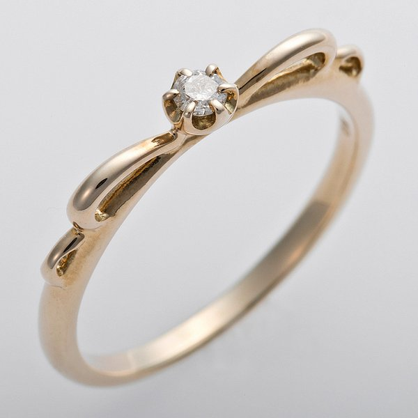 K10イエローゴールド 天然ダイヤリング 指輪 ピンキーリング ダイヤモンドリング 0.03ct 3号 アンティーク調 プリンセス リボンモチーフ
