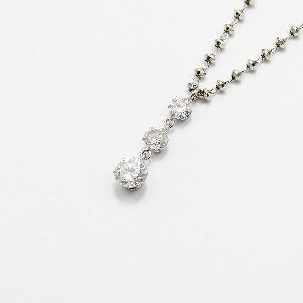 プラチナ0.45ctダイヤモンドスウィングトリロジーデザインペンダント【代引不可】