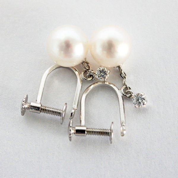 10金ホワイトゴールド 7mmあこや真珠 0.1ct天然ダイヤイヤリング パール【代引不可】