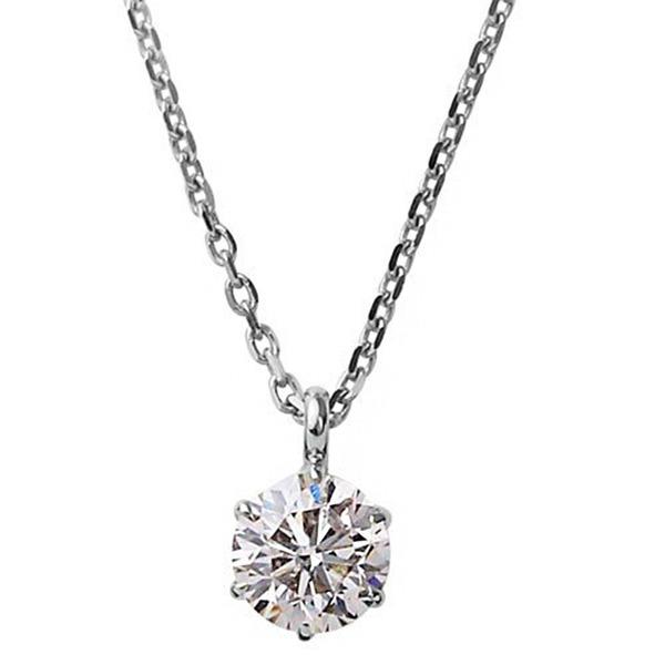 ダイヤモンドペンダント/ネックレス 一粒 K18 ホワイトゴールド 0.1ct ダイヤネックレス 6本爪 Hカラー I1クラス Good 中央宝石研究所ソーティング済み