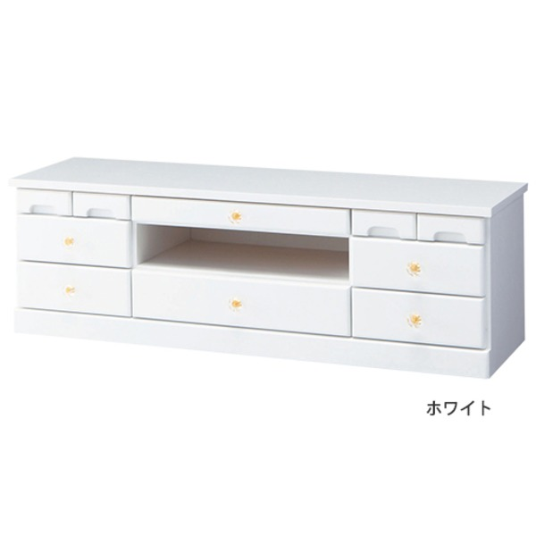選べる引き出しいっぱいリビングボード(サイドボード) 【2: 幅102cm×高さ32cm】 木製 ホワイト(白)