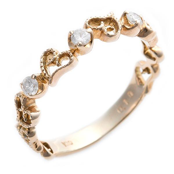 K10イエローゴールド 天然ダイヤリング 指輪 ダイヤ0.10ct 13号 アンティーク調 プリンセス ハートモチーフ