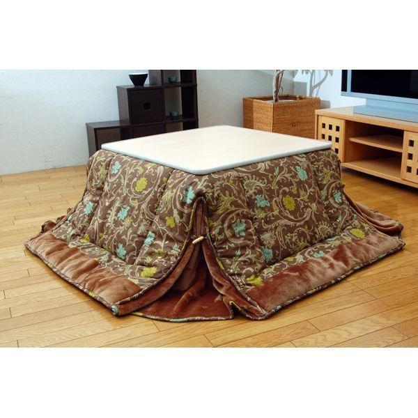 国内プリント 省スペースこたつ薄掛け布団 こたつ布団 単品 ブラウン 210×260cm
