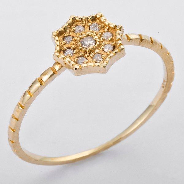 K10イエローゴールド 天然ダイヤリング 指輪 ダイヤ0.06ct 9号 アンティーク調 フラワーモチーフ