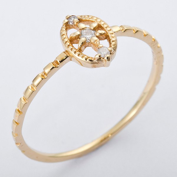 K10イエローゴールド 天然ダイヤリング 指輪 ダイヤ0.04ct 9号 アンティーク調