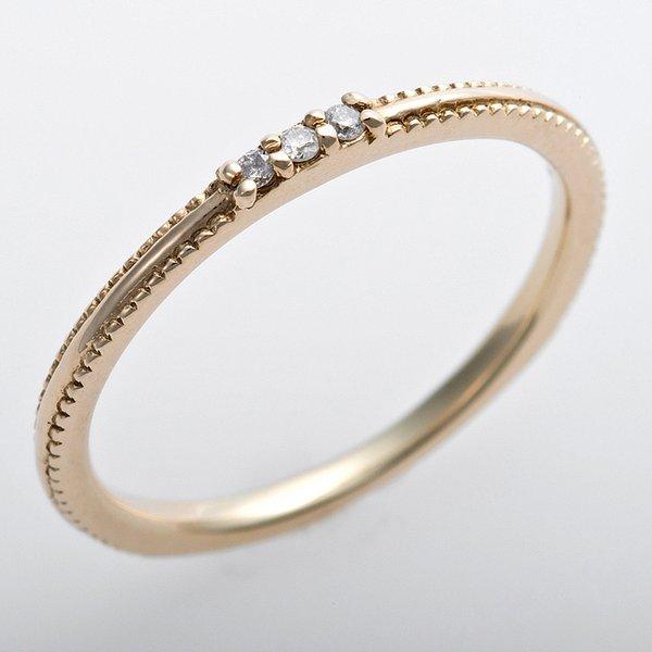 K10イエローゴールド 天然ダイヤリング 指輪 ピンキーリング ダイヤモンドリング 0.02ct 4号 アンティーク調 プリンセス
