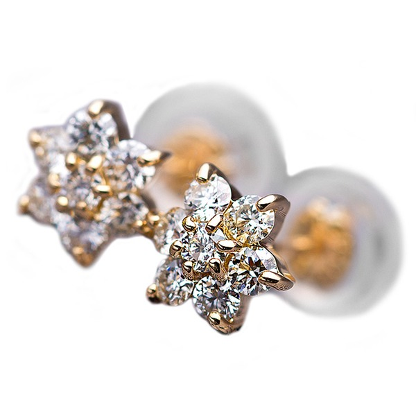ダイヤモンドピアス H&C 0.3ct K18 イエローゴールド 0.3カラット 花 フラワーモチーフ ピアス 鑑別カード付き