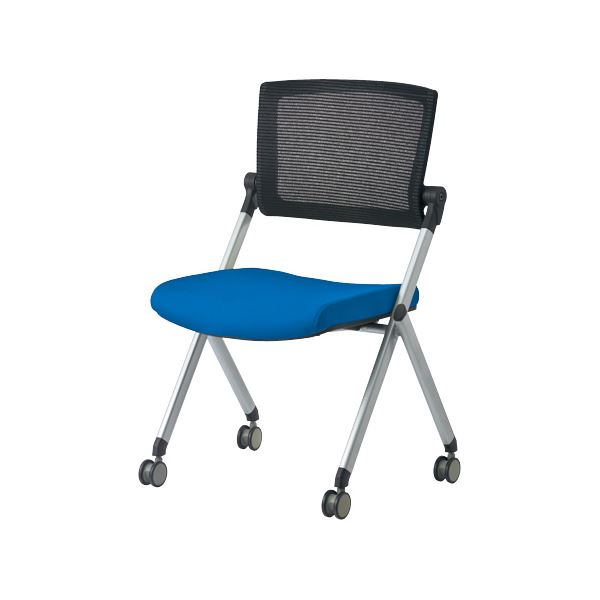 ジョインテックス 会議椅子(スタッキングチェア/ミーティングチェア) 肘なし 背メッシュ キャスター付き GK-90SM ブルー 【完成品】