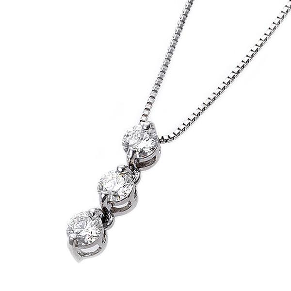 ダイヤモンド ネックレス 0.24ct スリーストーン K18 ホワイトゴールド ダイヤ3ストーン ペンダント 鑑別カード付き